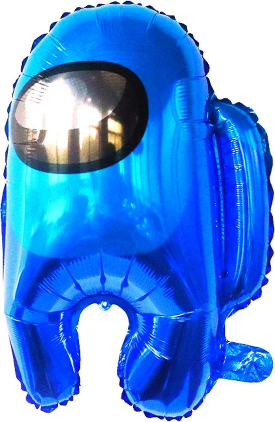 Among Us Ballon - 55 x 43 cm - Inclusief Opblaasrietje - Ballonnen - Ballonnen Verjaardag - Helium Ballonnen - Folieballon - Games - Among Us Knuffel - Blauw