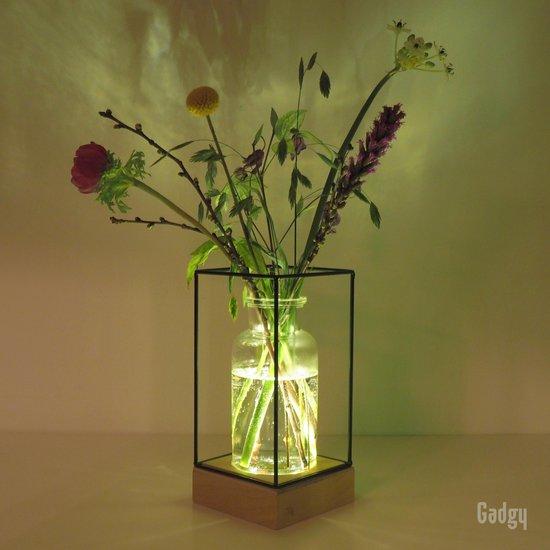 Gadgy Vaaslamp - Vaas met LED verlichting – Houten basis met 5 LED lampjes, glazen vaas en zwart metalen frame – Werkt op 3 AAA batterijen (excl.) – Tafellamp