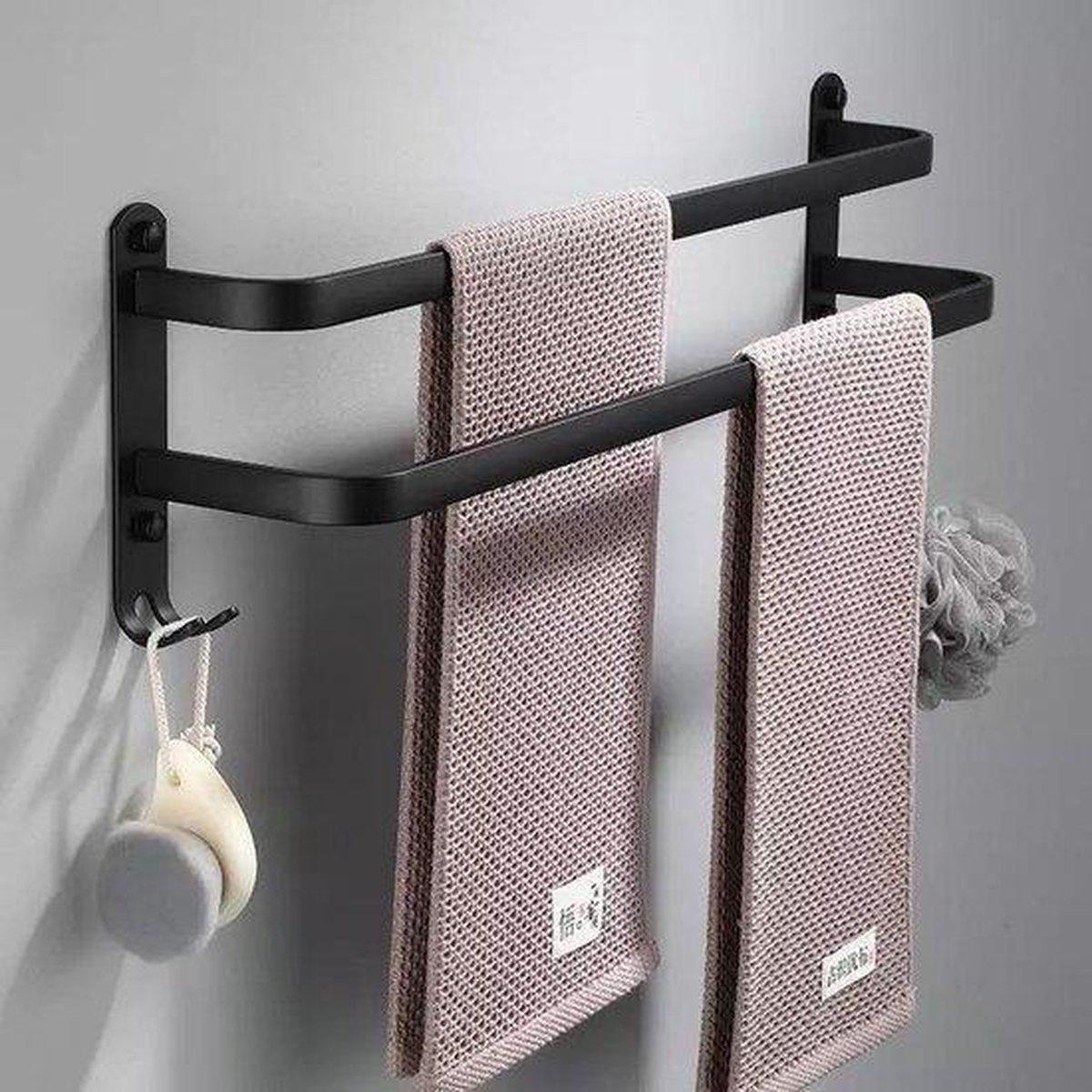 Zwarte handdoekrek Twin 40 cm - Handdoekhouder- Badkamer rek- Handdoekrek - Zwarte handdoekenhouder