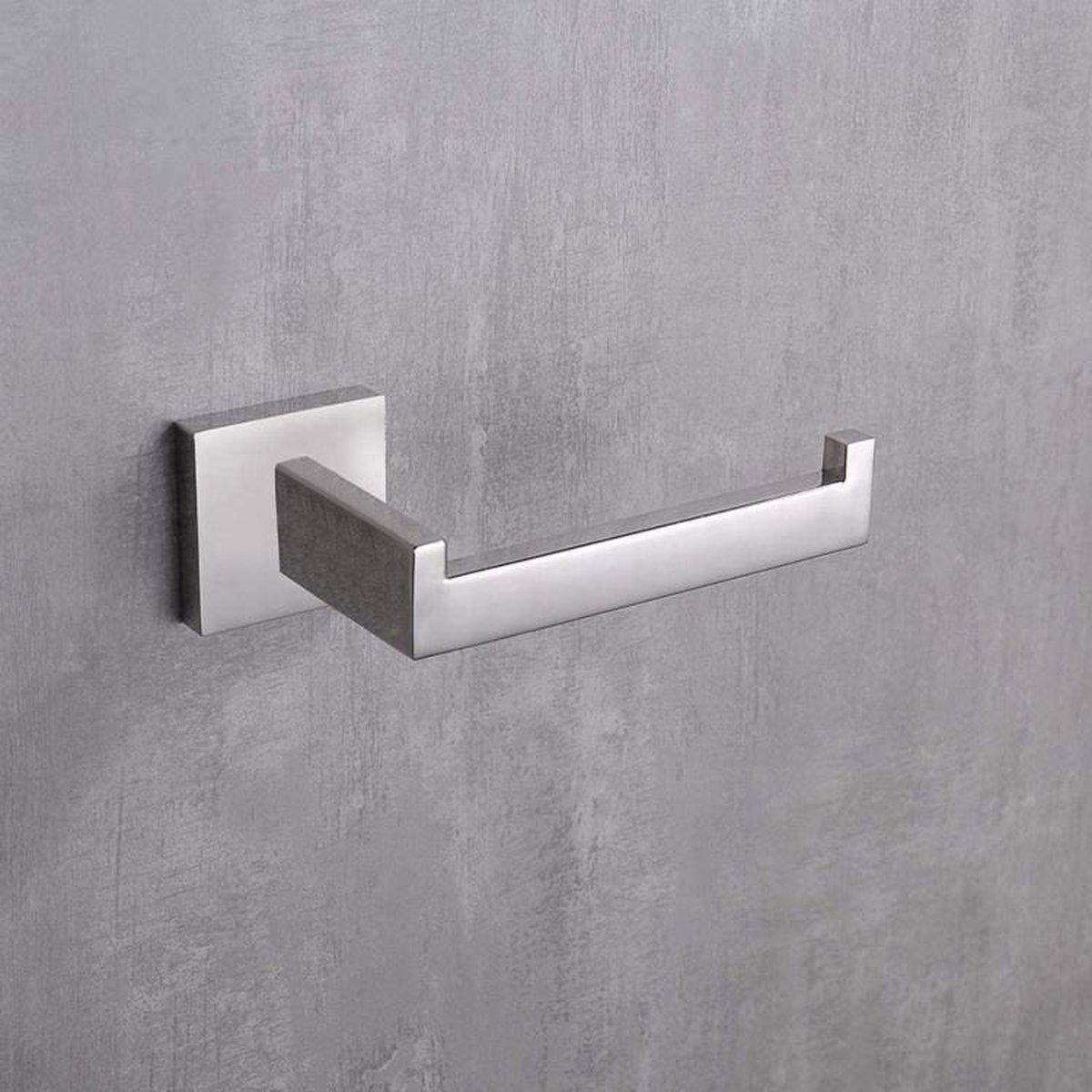 Wc Rolhouder Toiletrolhouder Staand Luxe WC Rol Houder RVS - Wcrolhouder - WC Papier Toiletpapier Houder Staand - Handdoekhaakjes