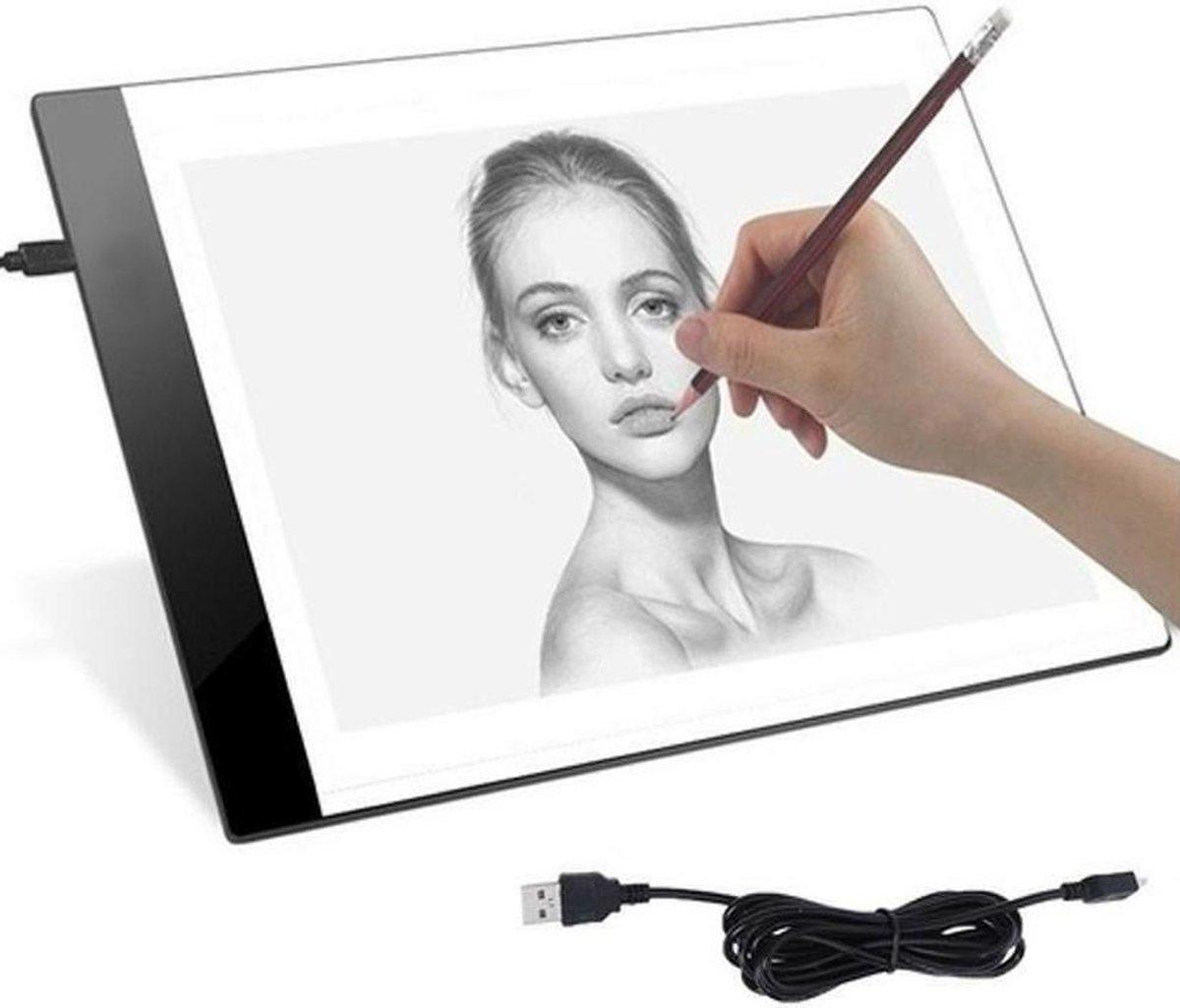 A&K A4 LED Lightpad - Ultra Dun - Diamond Painting - Lichtbak - Overtrekhulp - Lichttafel - Ledbord - Meetlint - Tekentafel - Overtekenen - Tekenborden - Overtrekken