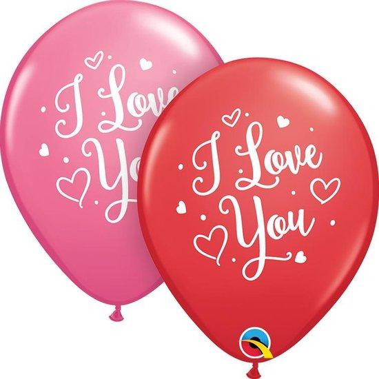 Qtex ballonnen I Love You Script (25 stuks)