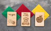 Houtvanjou.nu houten wens kaartjes wenskaartjes set van 3 beterschap veel geluk dikke knuffel
