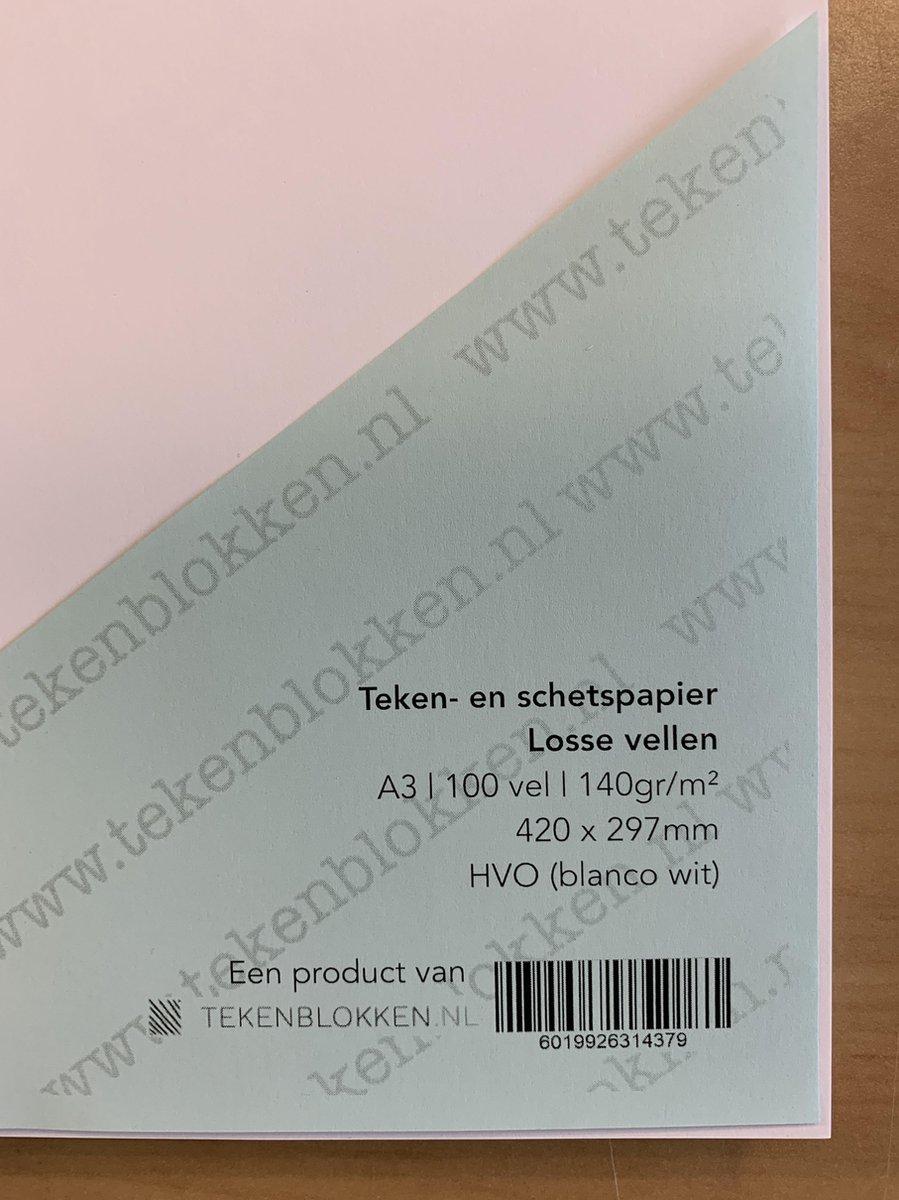 Tekenpapier - Schetspapier - 140 grams HVO wit - A3 - 42 x 29,7 cm - 100 vel - Premium kwaliteit - Losse vellen