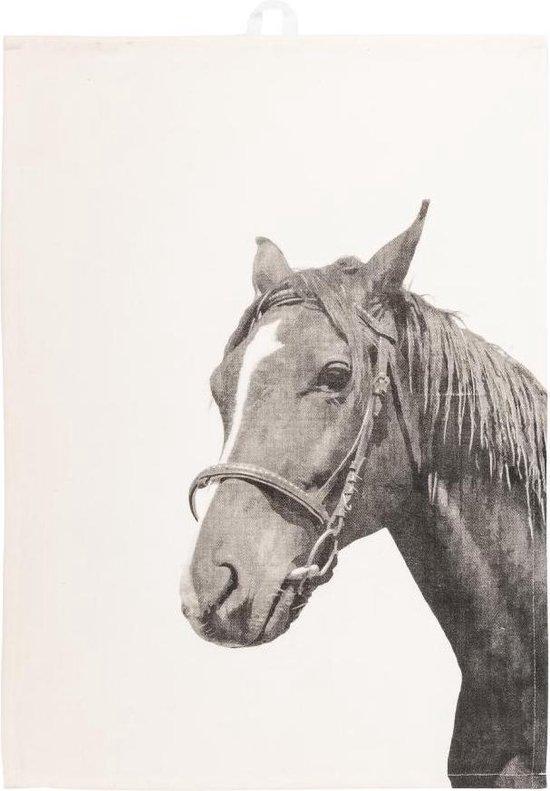 Tiseco Farm Theedoek – Katoen – Set 2 stuks – Wit – Paard