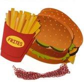 Slinger fastfood 5meter friet bakje - hamburger