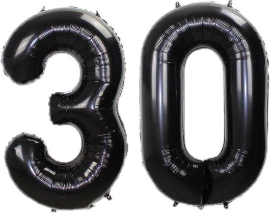 Folie Ballon Cijfer 30 Jaar Zwart 70Cm Verjaardag Folieballon Met Rietje