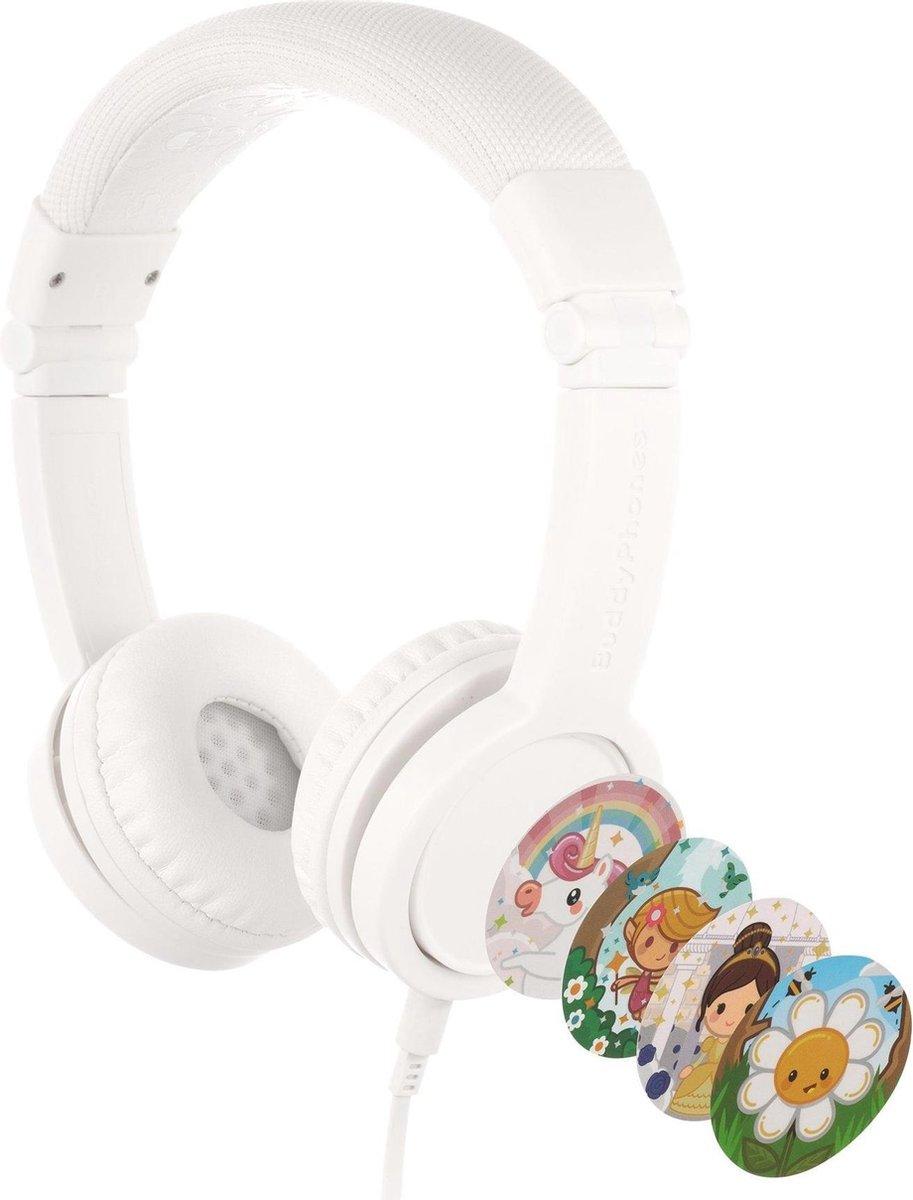 BuddyPhones Explore+ - kindvriendelijke on-ear koptelefoon - geluidsbegrenzing, audio splitter, meegeleverde stickers, wit