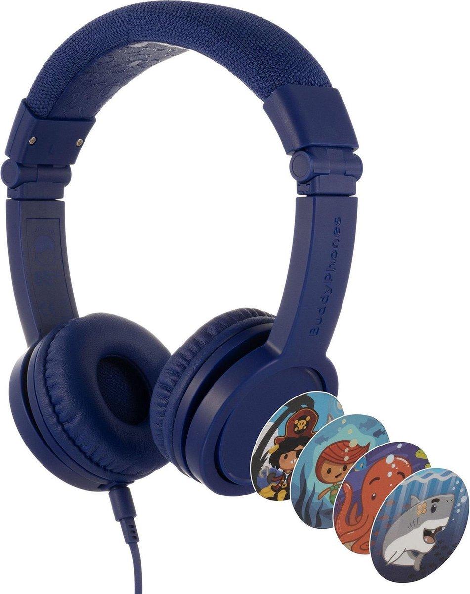 BuddyPhones Explore+ - kindvriendelijke on-ear koptelefoon - geluidsbegrenzing, audio splitter, meegeleverde stickers, donkerblauw