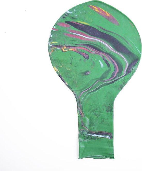 Zuid Amerikaanse 38 inch reuze ballon met lange nek - Groen / Marmer kleur - 95 cm - grote ballonnen