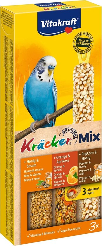 Vitakraft Parkiet Kracker Vogelsnack - Honing & Sinasappel & Popcorn - 3 Stuks - Vitakraft