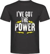 Fitness T-Shirt - Gym T-shirt - Work Out T-shirt - Sport T-Shirt - Regular Fit T-Shirt - Fun - Fun Tekst -  Sporten - I'VE GOT THE POWER - Charcoal - Maat M