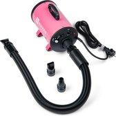 Nuvoo Professionele Hondenföhn / Waterblazer / Hondenborstel met 3 Opzetstukken - Verstelbare Vermogen tot 2200W - Warme / Koude Stand - Roze