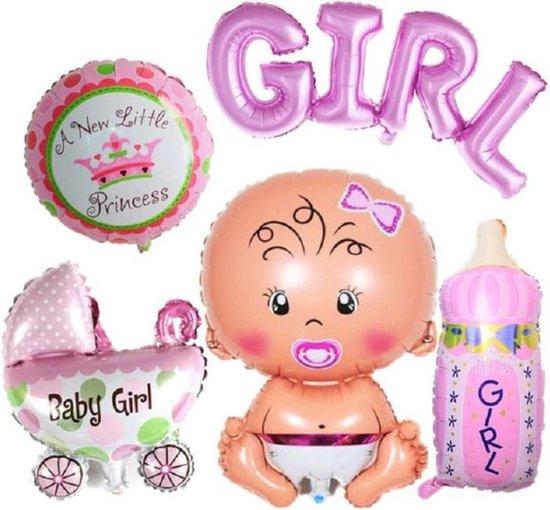 Geboorte Folie ballonnen - set van 6 - baby - meisje