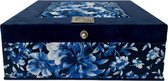 The Box For Tea Delft Bloem Royal Theedoos met Thee Cadeau - 9 vaks - Blauw