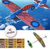 Foam Vliegtuigen | 12 STUKS| Uitdeelcadeautjes | Fighter Gliders | Zweefvliegtuig