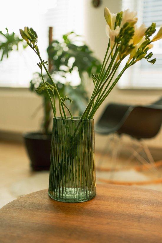 Glazen Vaas Transparant - Bloemenvaas Glas - Ø13xH20cm - Groen