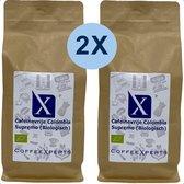 Koffiebonen | Cafeïnevrije Colombia | Biologisch | 2 X 1000 gram | Voordeel Pakket | Barista | Filterkoffie | Espresso | Cappuccino | Decaf | CoffeeXperts