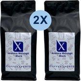 Koffiebonen | Arabica Melange Sterk | 2 X 1000 gram | Voordeel Pakket | Barista | Espresso | Cappuccino | CoffeeXperts