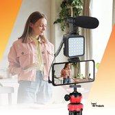 TW products Flexibele Tripod – Statief voor Smartphone Camera GoPro – Bluetooth Remote – Draadloze Afstandsbediening – Met Ledlamp en Shotgun Microfoon – Vlog Kit - 360˚ draaibaar - Zwart