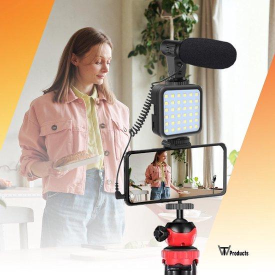 TW products Flexibele Houder – Statief voor Smartphone Camera GoPro – Bluetooth Remote – Draadloze Afstandsbediening – Met Ledlamp en Shotgun Microfoon – Vlog Kit - 360˚ draaibaar - Zwart