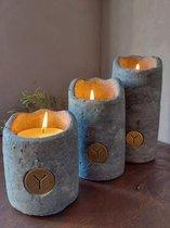 Brynxz - Theelichthouders van beton - Model 'Kaars' - Waxinelichthouders - Industrial Vintage - Set van 3 stuks!