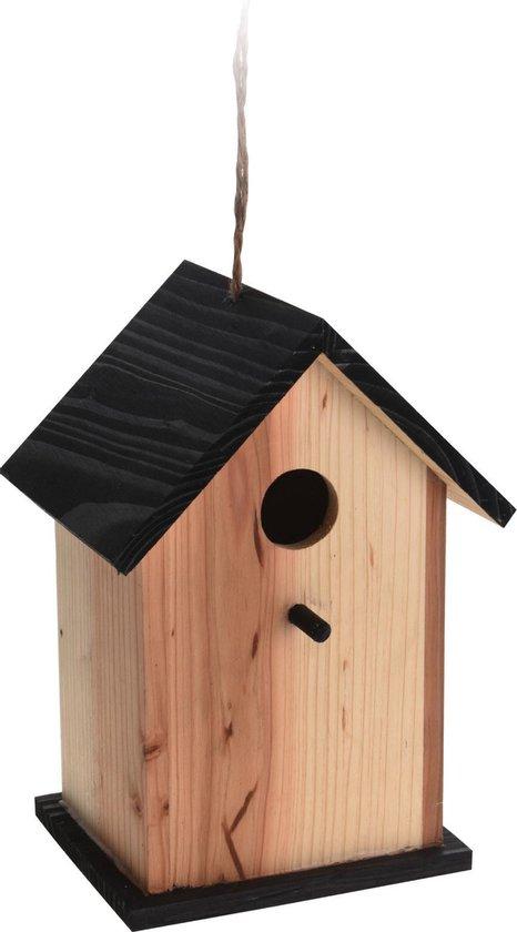 Vogelhuisje/nestkastje zwart/naturel hout 22 cm - Vogelhuisjes tuindecoraties