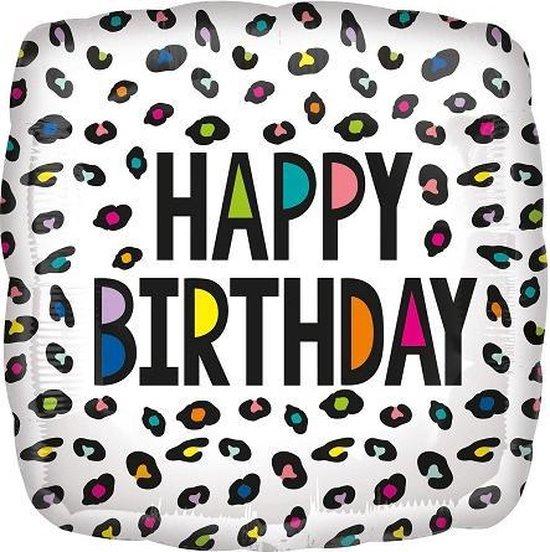 Folieballon happy birthday vierkant LEEG