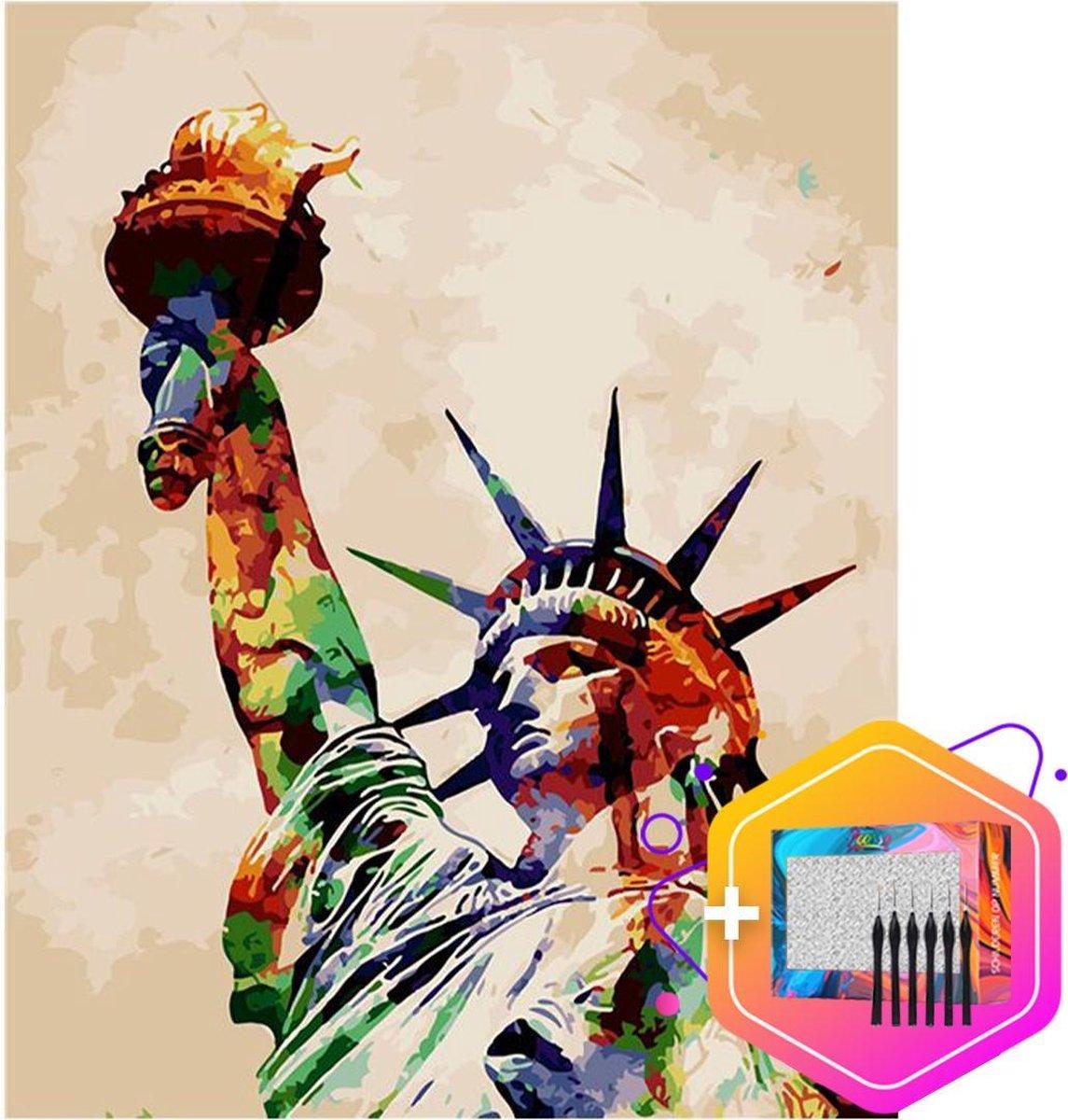 Pcasso ® Vrijheidsbeeld Artistiek - Schilderen Op Nummer - Incl. 6 Ergonomische Penselen & Geschenkverpakking - Schilderen Op Nummer Volwassenen - Statue of Liberty - Kleuren Op Nummer - 40x50 cm - Professionele 26-Delige Set