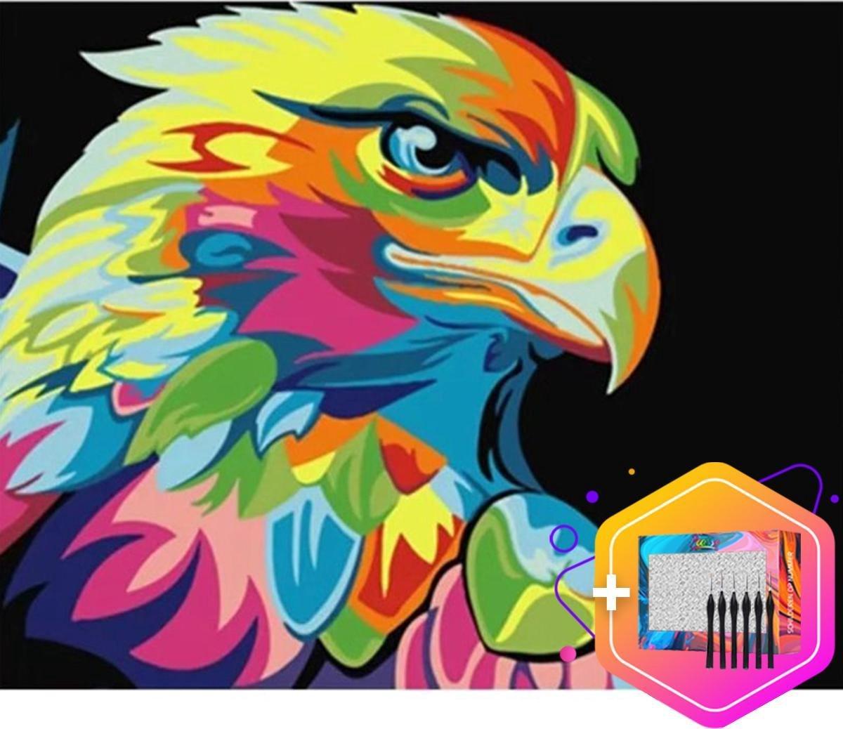 Pcasso ® Havik Artistiek - Schilderen Op Nummer - Incl. 6 Ergonomische Penselen En Geschenkverpakking - Schilderen Op Nummer Dieren - Schilderen Op Nummer Volwassenen - vogel - Canvas Schilderdoek - Kleuren Op Nummer - 40x50 cm