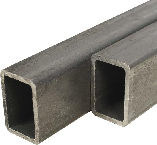 vidaXL Kokerbuizen rechthoekig 2m 60x30x2mm constructiestaal 2 st  VDXL_143138