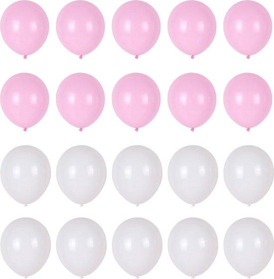 Ballonnen set roze wit 20 stuks - roze witte ballonnenset - geboorte meisje ballon - verjaardag versiering