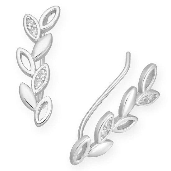 EAR IT UP - Oorklimmers - Ear climbers - Earclimbers - Ear crawlers - Blad - Leaf - Gerhodineerd zilver - Zirkonia - Pavézetting - 18 x 5 mm - 1 paar