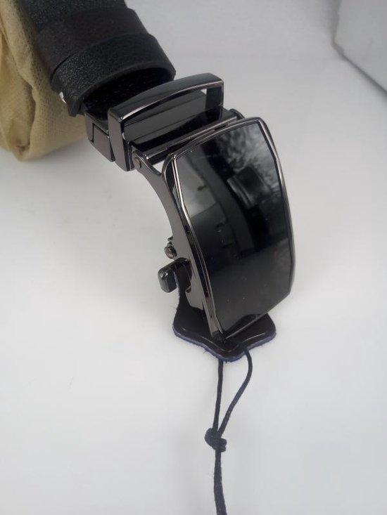 dubbelzijdige Lederen Riem, bruin & zwart, zwart draaibare buckle 10, L125cm BR34mm