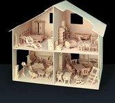 Poppenhuis met 42 meubels