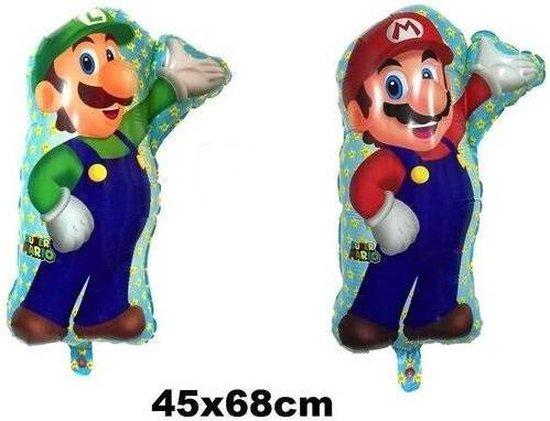 Super Mario Bros en Luigi ballon - 68x44cm - Set - Folieballon - Thema party - Ballonnen - Helium - Verjaardag spelcomputer - Leeg - Mario - Luigi - Super Mario Bros