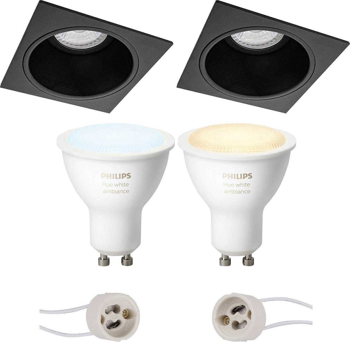 PHILIPS HUE - LED Spot Set GU10 - White Ambiance - Bluetooth - Proma Minko Pro - Inbouw Vierkant - Mat Zwart - Verdiept - 90mm