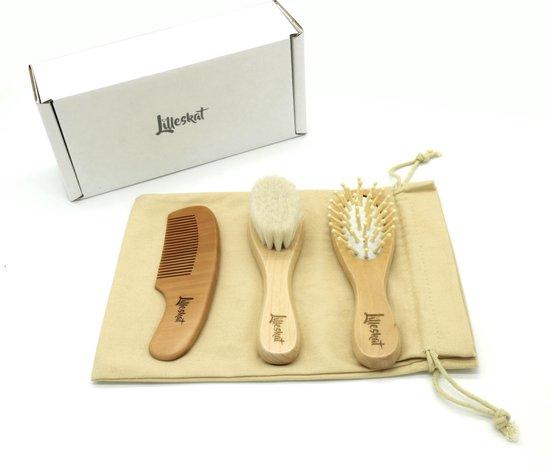 Lilleskat® Baby Verzorgingsset- Haarborstel - Kam - Babyshower - Hout