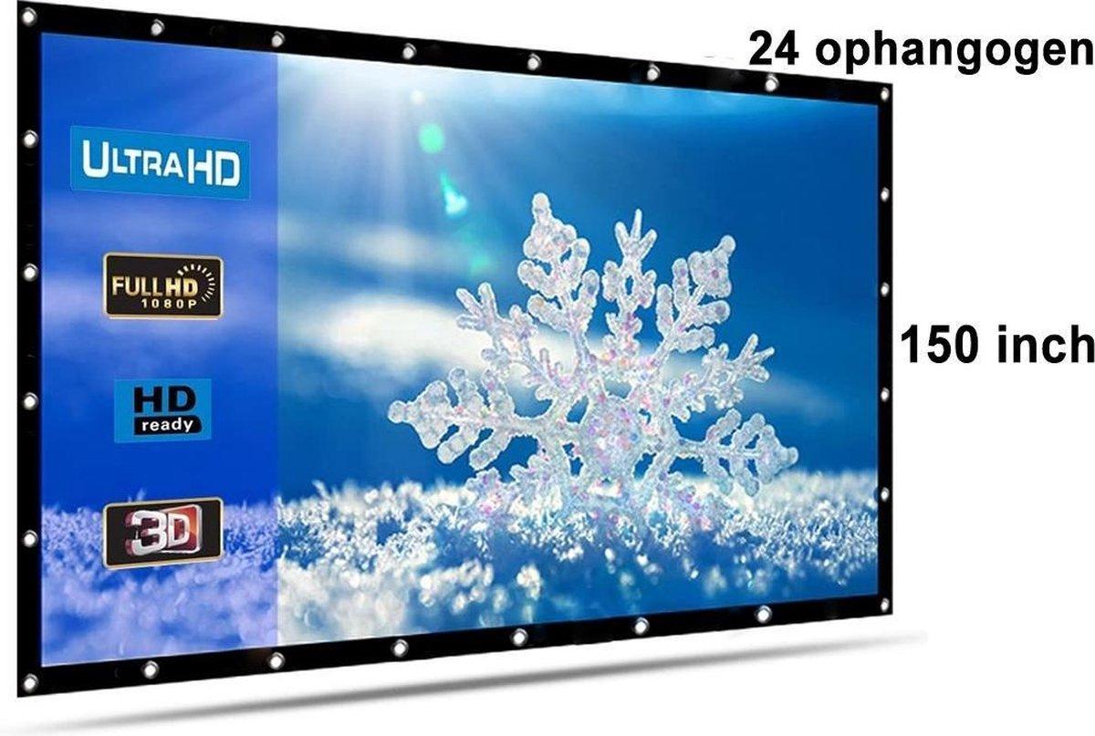 Beamer scherm projectiescherm 150 inch 16:9, lichtgewicht 560 gram met 24 ophangogen, projectie-doek