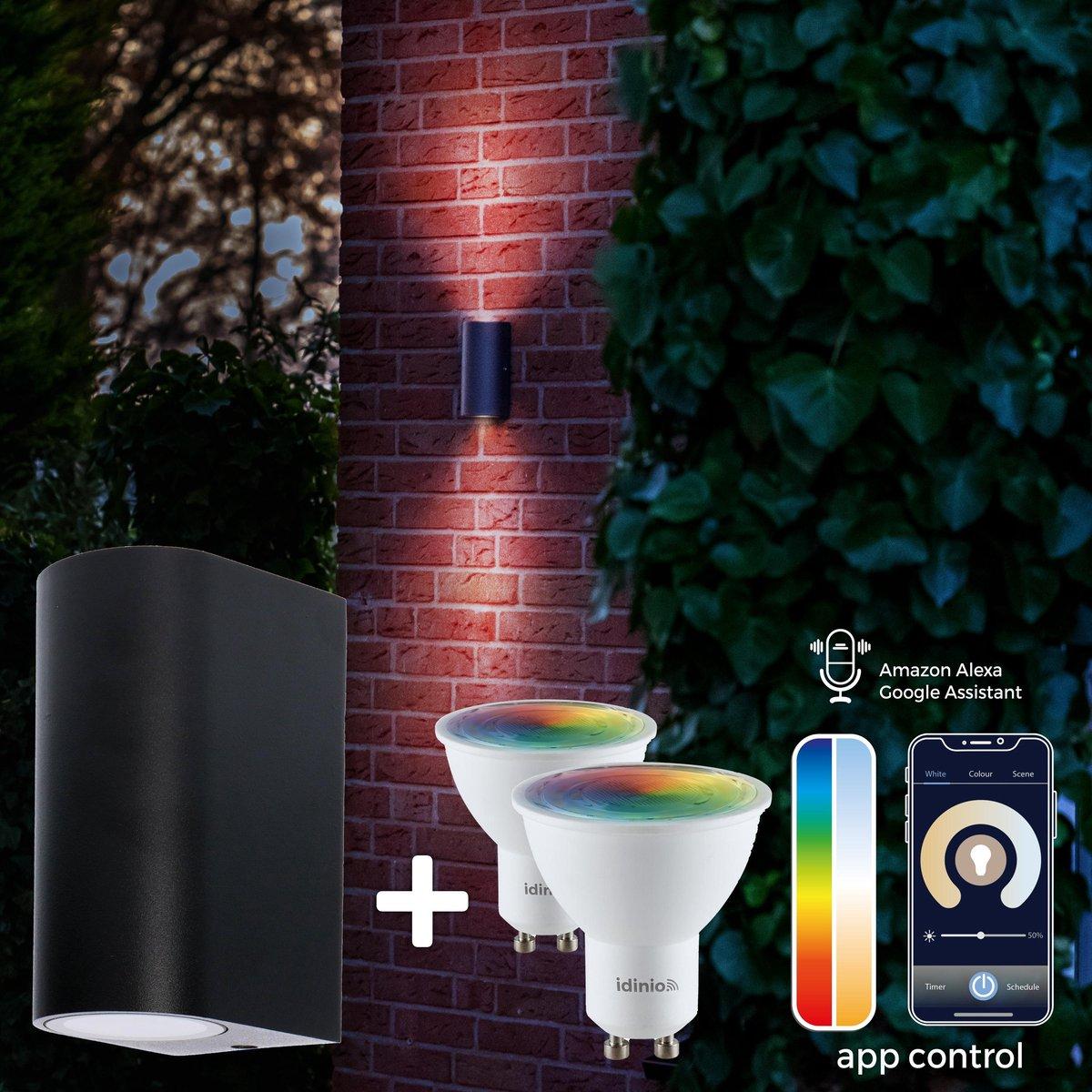 Proventa Slimme buitenlamp - Wandlamp Model E - White & Color - 1 x LED Muurlamp