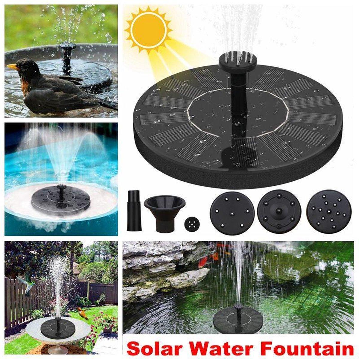 4x Solar Fontein - met een diameter van ca 13 cm - werkt op Zonne-energie - voor in de tuin of op balkon - geschikt voor in een vijver of waterschaal - drijvende fontein zonder snoer - alleen voor buiten