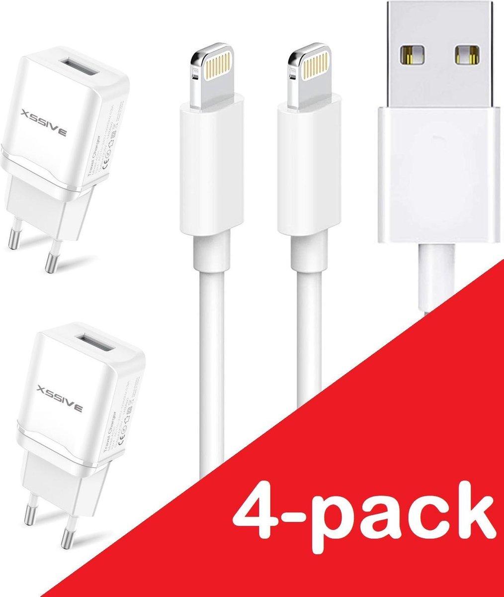 Oplader iPhone | Oplader met iPhone / iPad Kabel 4-pack | Premium USB Oplader | 1 Meter | Apple iPhone 11/11 PRO/ XS/ XR/ X/ iPhone 8/ 8 Plus/ iPhone SE Oplaadkabel en Oplader