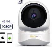 GoGoldPro® - Babyfoon - Babyfoon met Camera - Beveiligingscamera - Wifi - HD-Kwaliteit - App voor Smartphone - Geluid & Bewegingsdetectie - 4G/5G -  Beveiligd