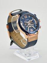 Horloge casual Curren blue met rose goud + extra batterij + doosje
