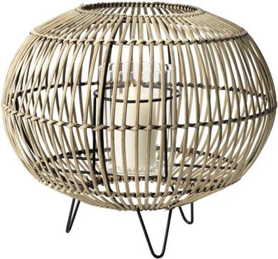Lantaarn Bamboe - Windlicht kaarsenhouder - Gevlochten Bamboe/Glas - Ø32xH26
