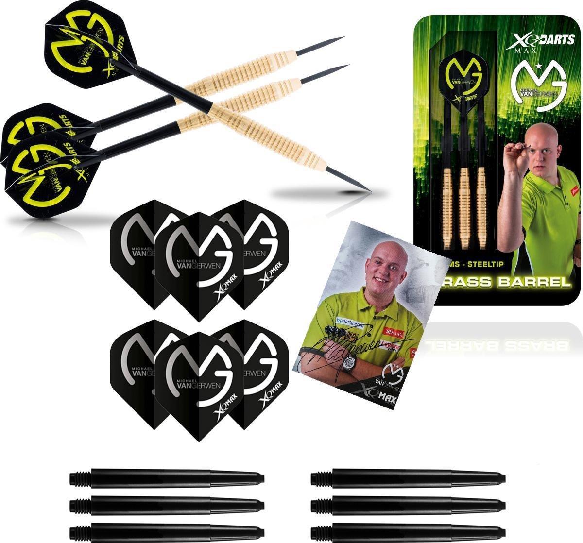 XQ Max - Michael van Gerwen - 20 gram Brass (100% NETT) - dartpijlen - inclusief extra originele - darts shafts - en - darts flights