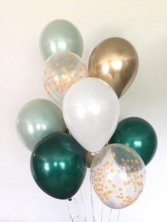 Huwelijk / Bruiloft - Geboorte - Verjaardag ballonnen | Groen 2 kleuren - Goud - Off-White / Wit - Transparant - Polkadot Dots | Baby Shower - Kraamfeest - Fotoshoot - Wedding - Birthday - Party - Feest - Huwelijk | Decoratie | DH collection