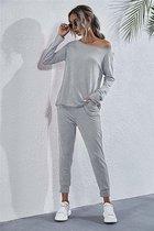 Huispak / Loungewear/Homewear/ Vrijetijdspak  Dames grijs maat L. Florence