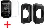 2-in-1 Tempered Glass Screen Protector & Beschermhoes Case Cover Hoes Sleeve Voor Garmin Edge 530 - Screenprotector Met Hoesje - Optimale Fietscomputer Bescherming - Zwart