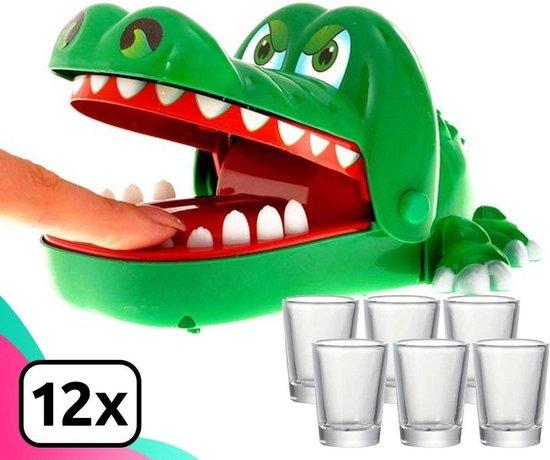 Dayshake® Bijtende Krokodil Spel + 12 shotglaasjes - Krokodillen Tandenspel - Drankspel